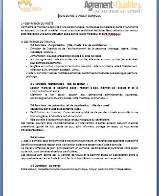 Fiche de poste Aide à domicile SAP | Agrement-Qualite.fr